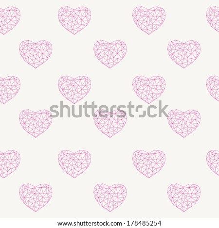 Polygonal seamless hearts on white backdrop. Vector Illustration. Abstract polygonal hearts. Love symbol.  Low poly style