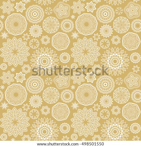 Polygonal shapes pattern. Mandala circles. Vector geometric floral golden and white seamless background.