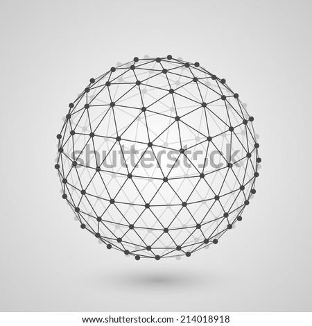 Polygonal sphere of information. Vector illustration - stock vector