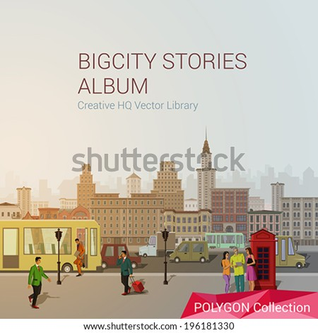 Polygonal style city concept. Classic city design elements.  London. Polygon world collection.  - stock vector