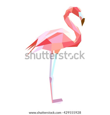 Polygonal Style Illustration flamingo. Low poly illustration - stock vector