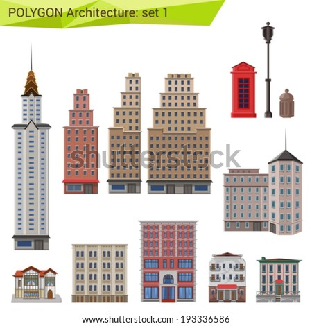 Architecture Design Elements polygonal style skyscrapers buildings set city stock vector