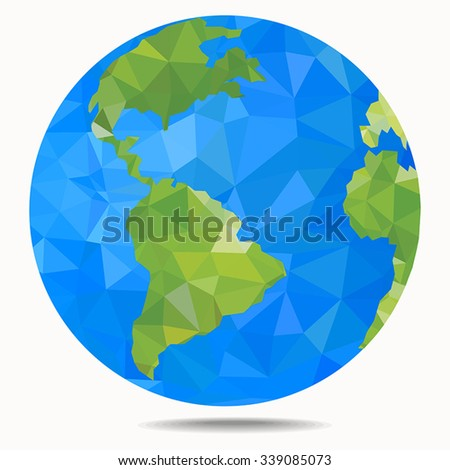 Polygonal style vector illustration of earth planet