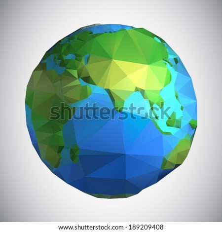 Polygonal style vector illustration of earth planet, Asia view - stock vector
