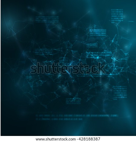 Polygonal technology background with blurred text. Vector eps10. Connections, can be used as concept of internet technology, communication.