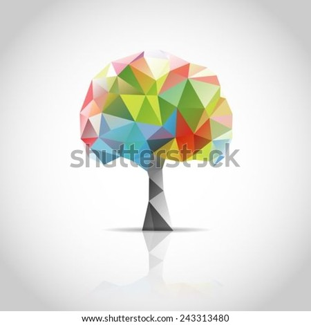 Polygonal tree, low poly style. Background design for poster, brochure,Logo design.  - stock vector