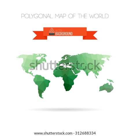 Polygonal triangle background with map of the world
