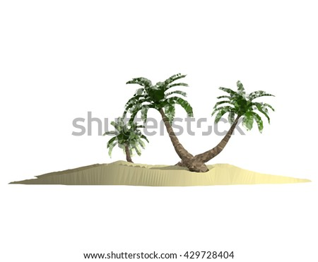 polygonal triangulated island with palm-tree over white