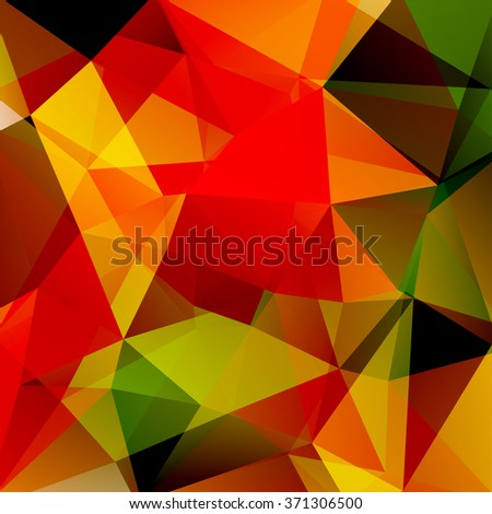Polygonal vector background. Can be used in cover design, book design, website background. Vector illustration. Red, orange, green colors.  - stock vector