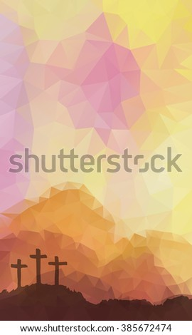 Polygonal vector design. Hand drawn Easter scene with cross. Jesus Christ. Crucifixion. Vector watercolor illustration. - stock vector