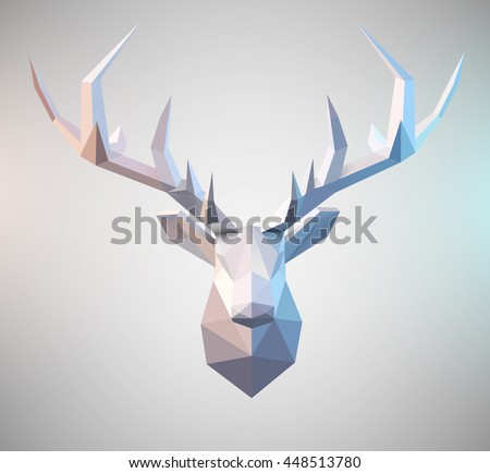 Polygonal vector low poly deer illustration Stag graphic element for designs. 3d paper fold design effect. - stock vector