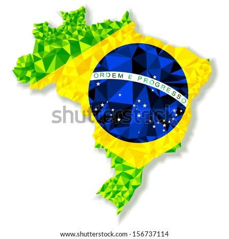 Polygonal vector map of Brazil - stock vector