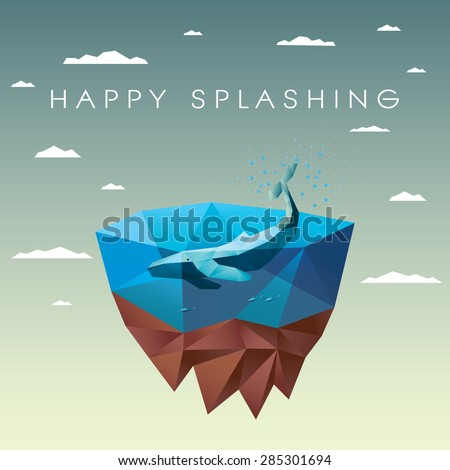 Polygonal whale in sea on floating island. Low poly ecology environmental design to save and protect nature. Eps10 vector illustration. - stock vector