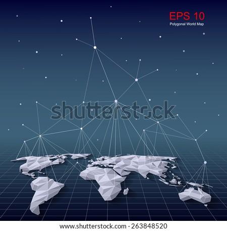 Polygonal World Map - stock vector