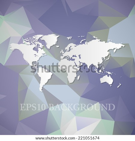 Polygonal World Map background - stock vector
