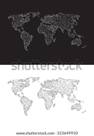Polygonal world map easy editable - stock vector