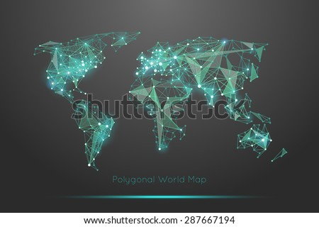 Polygonal world map. Global travel geography and connect, continent and planet, vector illustration - stock vector
