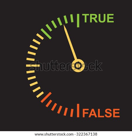 Polygraph: lie or truth  recognition indicator - stock vector