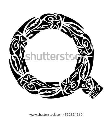 Polynesian Tattoo Initials Boho Capital Letter Stock Vector