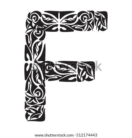 Polynesian Tattoo Initials Tribal Capital Letter Stock Vector