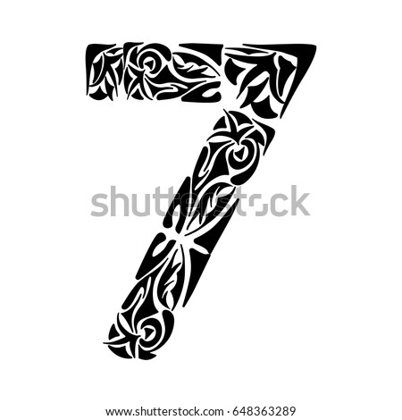 Polynesian tattoo numeral boho figure seven stock vector for Number 7 tattoo gallery