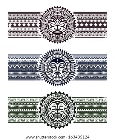 Polynesian tattoo styled masks with pattern bracelets. Vector illustration. - stock vector