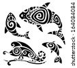 Polynesian tattoo. Tribal pattern set. Vector illustration. - stock vector