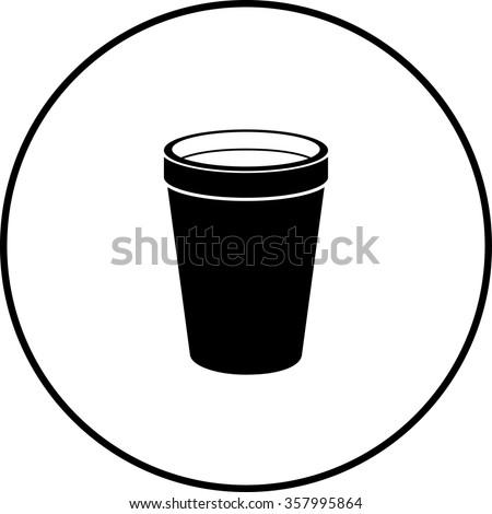 polystyrene foam cup symbol - stock vector