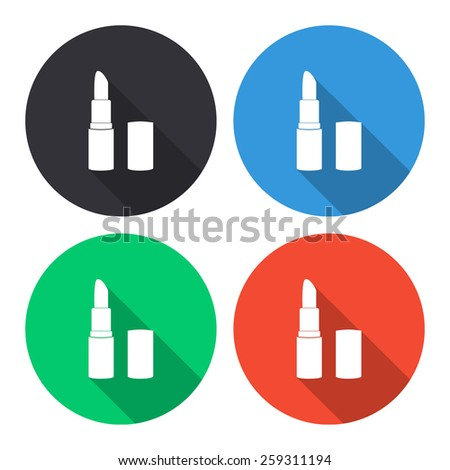 pomade lipstick vector icon - colored(gray, blue, green, red) round buttons with long shadow - stock vector