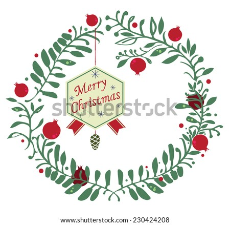 Pomegranate Christmas wreath, vector illustration isolated on white - stock vector