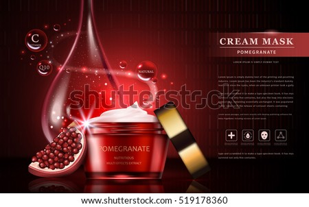 Pomegranate cream ads, attractive fruit ingredients with cosmetic package and essential oil drop, 3d illustration