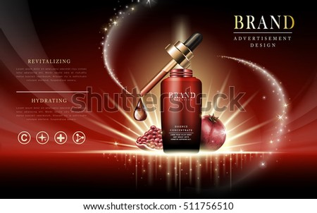 pomegranate facial foam contained in droplet bottle, red background, 3d illustration