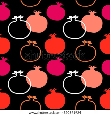 Pomegranate seamless vector retro pattern. Textile fruits collection. Red and pink on black background. Backgrounds & textures shop. - stock vector