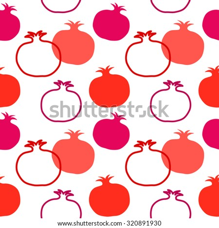 Pomegranate seamless vector retro pattern. Textile fruits collection. Red and pink on white background. Backgrounds & textures shop. - stock vector