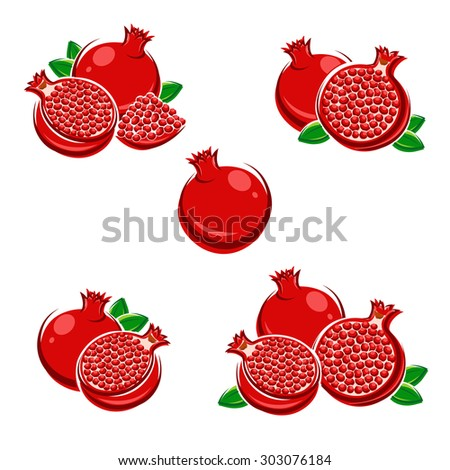 Pomegranate set. Vector - stock vector