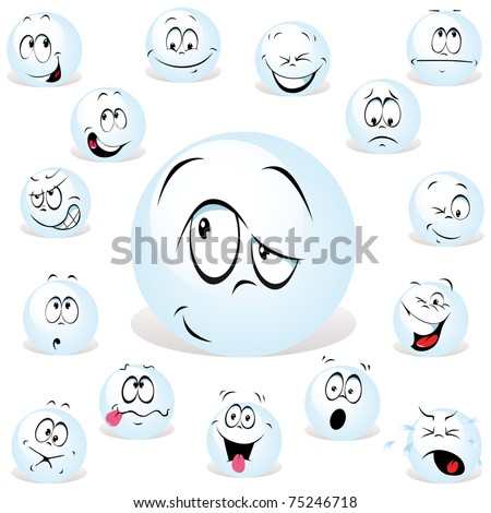 pong ball cartoon wit many expressions
