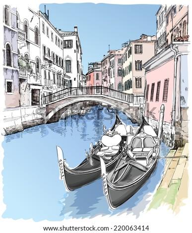 Ponte del Mondo Novo, Campo S.Maria Formosa. Venice, Italy - stock vector