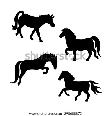 Pony vector icons and silhouettes. Set of illustrations in different poses.