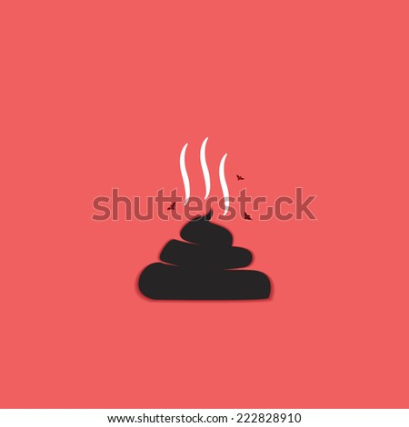 poo icon isolated on a red background - stock vector