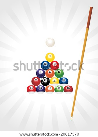 pool balls triangle background - stock vector