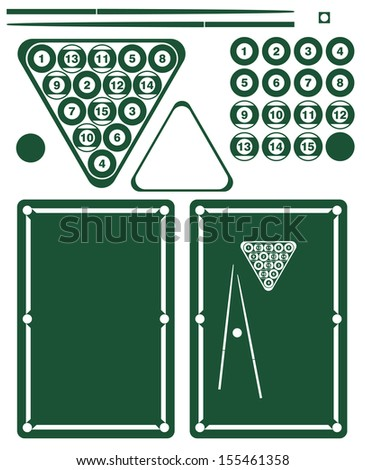 Pool game. Set. Isolated on white background - stock vector