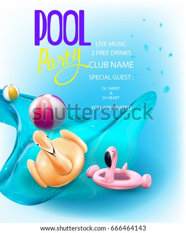 pool splash vector. Pool Party Composition In Water Splash And Inflatable Toys. Vector Illustration