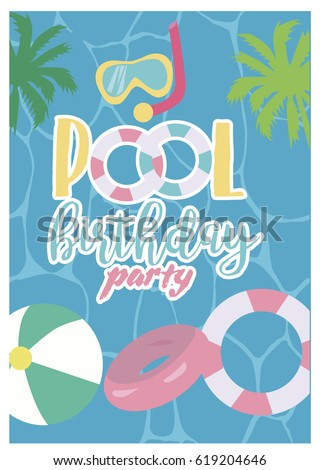 pool party invitation template card summer stock vector 619204646