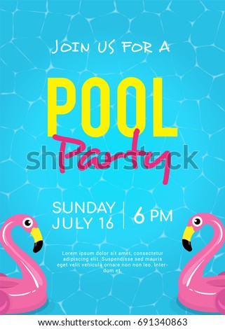 flamingo pool float clipart. pool party invitation vector illustration shining blue water ripple with flamingo float clipart