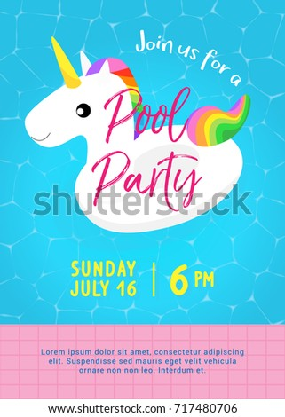 Pool party invitation vector illustration swimming stock vector pool party invitation vector illustration swimming pool with cute unicorn pool float and floating on stopboris Image collections