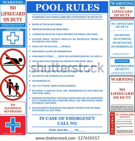 Pool rules set. Vector