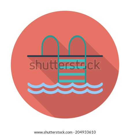 Pool.. Single flat color icon. Vector illustration. - stock vector