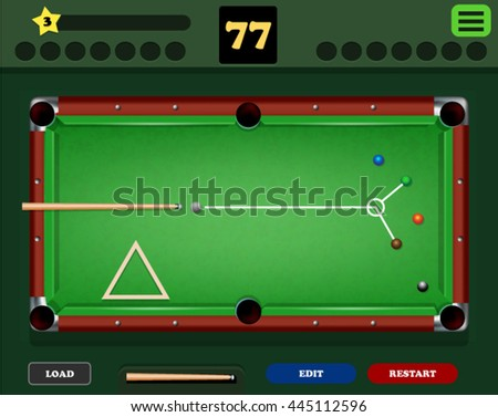 Pool Table Assets Mobile Game Stock Vector Royalty Free - Mobile pool table