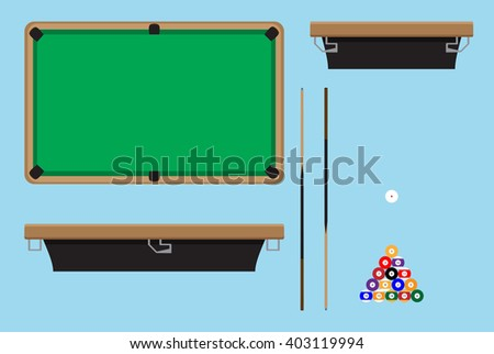 Pool table top side. Billiard table and snooker table, game room snooker, hobby game pool and leisure snooker competition. Vector flat design illustration - stock vector