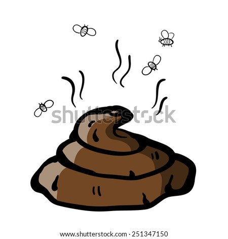 Poop and flies. A children's sketch. Color image - stock vector